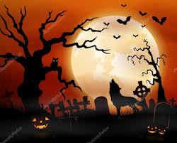 the halloween tree background halloween night background with wolf howling pumpkins owl on
