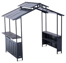 Topgrill Patio Furniture by Amazon Com Sunjoy Deluxe Hard Top Grill Shelter With Serving Bar