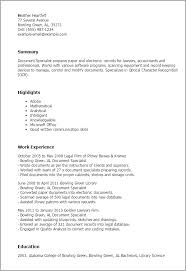 Resume Examples For Lawyers by Professional Document Specialist Templates To Showcase Your Talent