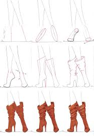 drawn boots front view pencil and in color drawn boots front view
