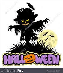 scarecrow halloween halloween scarecrow with full moon illustration