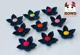 back to school hair bows denim flower bows by belen my handmade bows handmade hair