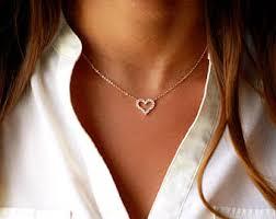 heart pendant choker necklace images Dainty heart choker necklace dainty gold heart choker etsy jpg