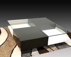 Black And White Coffee Table Chessa Coffee Table 100cm Square Glass Top With Shelf Drawers