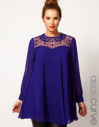 asos swing tunic with lace insert in blue lyst