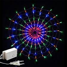 Purple Led Halloween Lights Waterproof 1 5 X 1 5m 160leds Spider Web Led String Lights