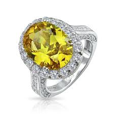 canary yellow engagement rings 925 sterling silver oval 6 carat color cz engagement ring