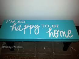 i u0027m so happy to be home stenciled step