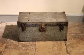 early c20th rare galvanised campaign chest trunk trunks