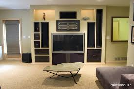 Media Room Built In Cabinets - basement media room with bar bricewood llc