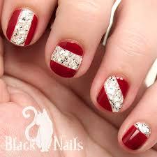 maroon and geometric white glitter nail design black cat nails