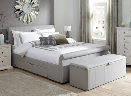 silver bed lucia silver fabric upholstered bed frame dreams