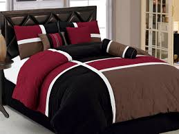 7pcs burgundy brown black quilted patchwork bed in a bag comforter