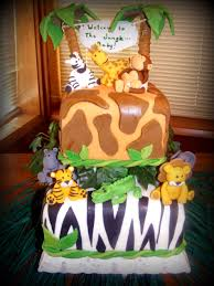 jungle baby shower cake with fondont animals jungle safari party