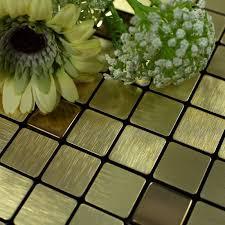 Steel Tile Backsplash by Tile Backsplash Kitchen Gold Stainless Steel Tiles Square Metallic