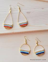 hoop beaded earrings beachy bohemian beaded hoop earrings made in a day