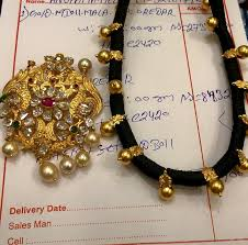 black gold necklace jewelry images Black thread gold necklace jpg