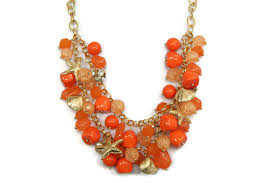 charm necklace with beads images Orange bead gold clam seashell starfish charm statement necklace jpg