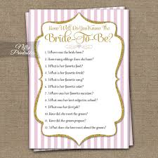 bridal shower wish printable how well do you the shower pink gold