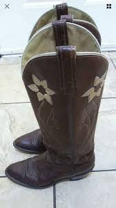 womens cowboy boots in size 12 vintage acme dingo leather flower inlay womens cowboy boots