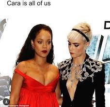 Rihanna Memes - cara delevingne shares meme looking at rihanna s dress daily