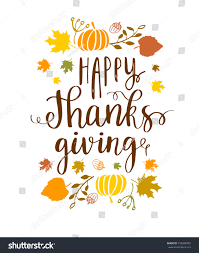 happy thanksgiving lettering phrase autumn harvest stock