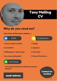 how to create cv or resume create a cv resume on canva tonymelling