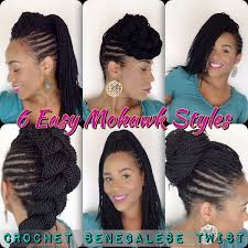 hairstyles with senegalese twist with crochet 6 easy mohawk styles senegalese twist tia kirby youtube