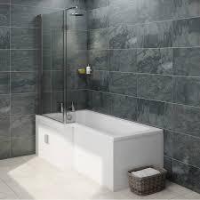 ellis water saving l shape shower bath left hand with storage