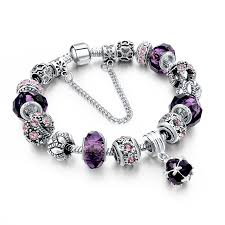 silver bracelet beads charms images Crystal silver purple diy beads charm bracelet ready made suits jpg