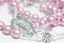 personalized rosary personalized rosary in pink swarovski pearl 2474000 weddbook