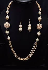 white pearl beaded necklace images Dazzling white stone pearl with white pearl beads mala necklace set jpg