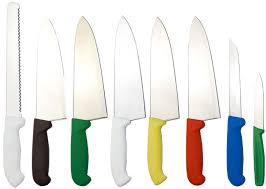 colour coded kitchen knife set with sharpening machine