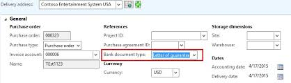 letter of guarantee against purchase order in ax 2012
