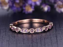 amethyst wedding rings purple amethyst wedding ring solid 14k gold wedding