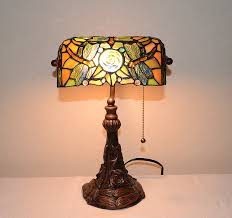 stained glass style dragonfly turtleback banker u0027s lamp