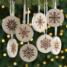 wooden metallic snowflake ornaments set of 8 crate and barrel