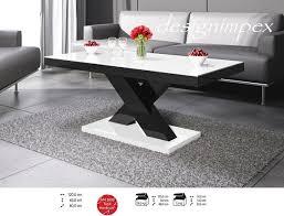 Wohnzimmertisch Uhr Design Couchtisch H 888 Weiß Schwarz Hochglanz Highgloss Tisch