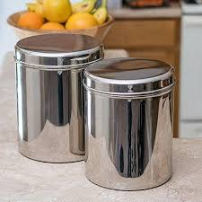 kitchen canisters stainless steel jumbo stainless steel kitchen canister set of 2 qualways llc