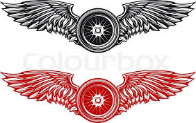wheel with wings for tattoo or mascot design stock vector