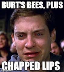 Chapped Lips Meme - burt s bees plus chapped lips image tagged in peter parker cry