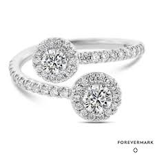 two diamond ring forevermark two diamond ring in 18kt white gold 7 8ct tw