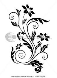 floral silhouette element for design vector tattoo tattoo