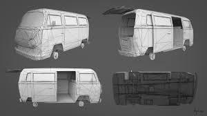 hippie volkswagen drawing artstation volkswagen t2 agni medrala