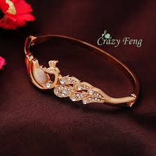 ladies gold bracelet bangle images Fashion new women 39 s lady 39 s rose austrian crystal opal peacock jpg