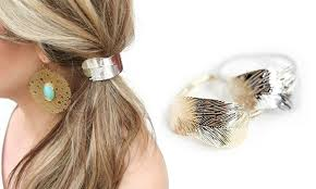 ponytail holder silver and gold leaf cuff ponytail holder set 2 groupon