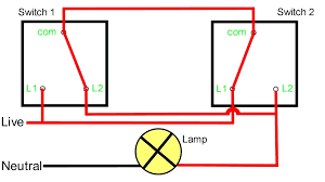 2 way intermediate lighting circuit wiring diagram switching light