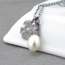 birthstone gift freshwater pearl necklace bridal jewelry pearl jewelry sterling