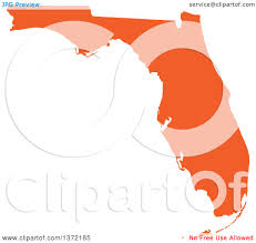 State Of Florida Map by Clipart Of An Orange Silhouetted Map Shape Of The State Of Florida