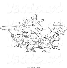 vector of a cartoon western cowboy family coloring page outline